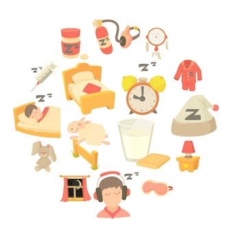 Sleeping symbols icons set, cartoon style