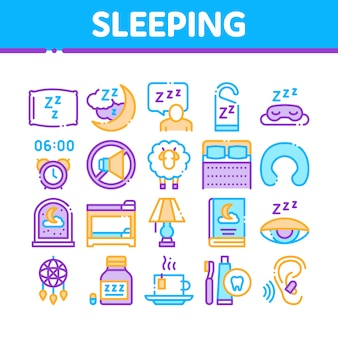 Sleeping time devices collection icons set