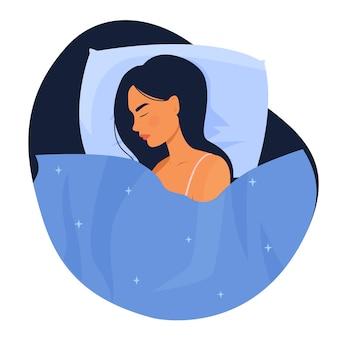 평면 스타일의 침대에서 잠자는 여자