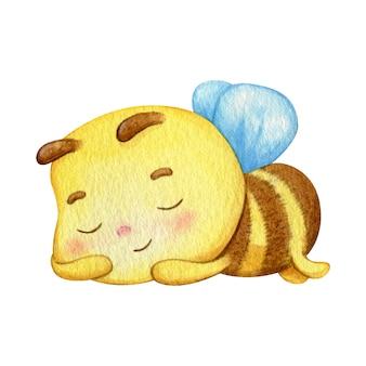 Спит желтый насекомое малыша. счастливая пчела спит и имеет хорошие сны.