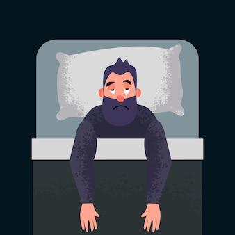 잠 못 이루는 불면증 컨셉 아트