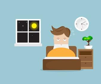 Sleepless man cartoon character on bed in night