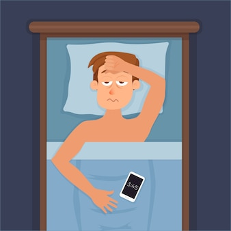 Sleepless man face cartoon character suffers from insomnia. guy with open eyes in darkness night lying on bed concept. sad male awake, tired with can t dream problem  illustration