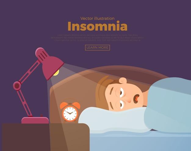 眠れない男の顔の漫画のキャラクターは不眠症に苦しんでいます。ベッドのコンセプトに横たわって暗闇の夜に目を開いた男。悲しい男性が目を覚まし、夢の問題のイラストにうんざりしている