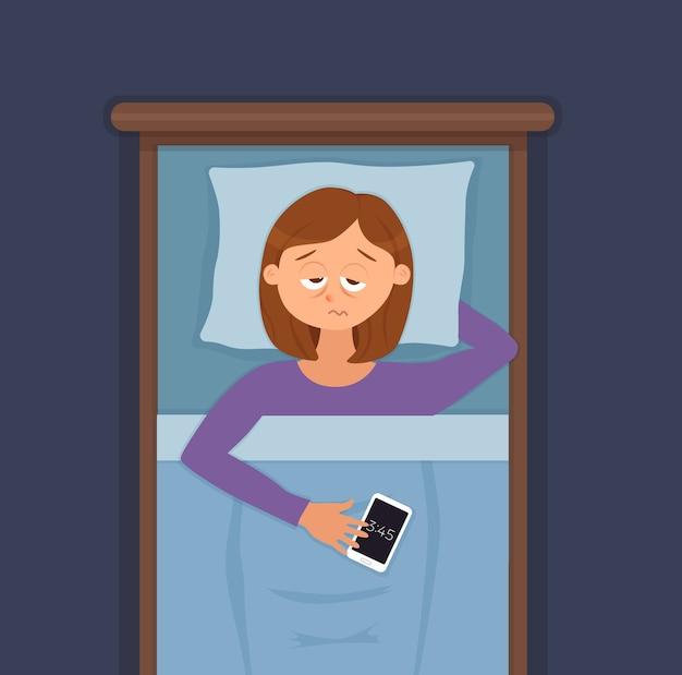 眠れない女性の顔の漫画のキャラクターは不眠症に苦しんでいます。ベッドのコンセプトに横たわって暗闇の夜に目を開けて女の子。悲しい女性が目を覚まし、問題のイラストを夢見ることができませんで疲れています