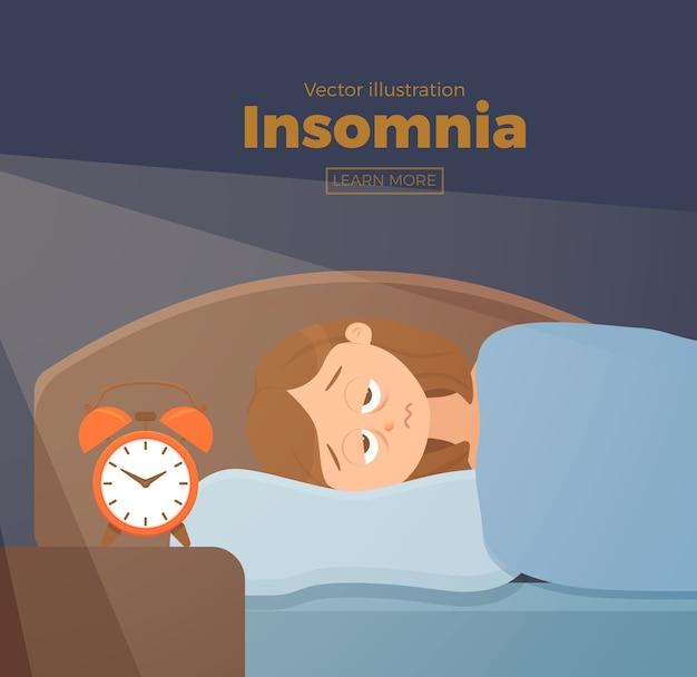 眠れない女性の顔の漫画のキャラクターは不眠症に苦しんでいます。ベッドのコンセプトに横たわって暗闇の夜に目を開けて女の子。悲しい女性が目を覚まし、夢の問題のイラストに疲れている