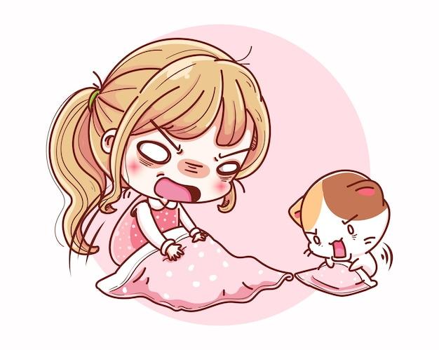 잠 못 이루는 여자 불면증과 만화 캐릭터 디자인.