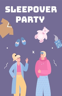 Sleepover card with man and woman at night party vector cartoon illustration