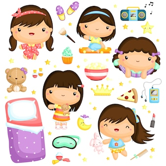 Sleepover girl vector set