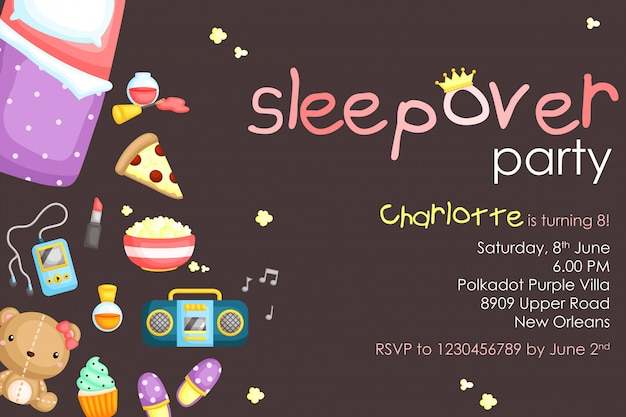 Sleepover party birthday invitation