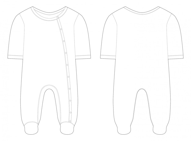 Sleepwear for baby boys and girls. technical drawing.