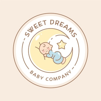 Шаблон логотипа сонный ребенок
