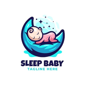 Sleepy babylogo design template with cute details