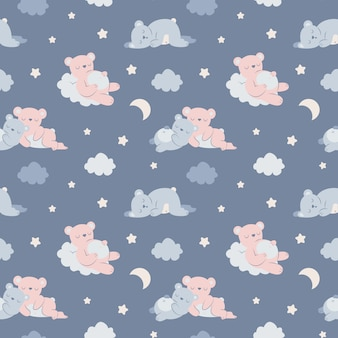 Sleepy bears seamless pattern