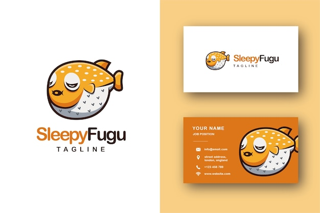Sleepy bubble fish, blowfish, fugu fish cartoon mascot logo and business card
