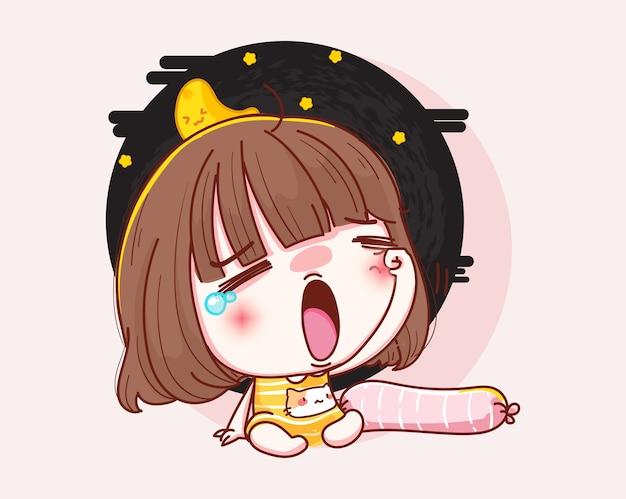 잠자는 귀여운 소녀와 캐릭터 디자인.