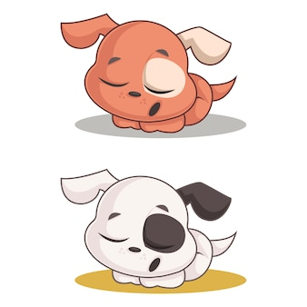 Sleepy dog cartoon