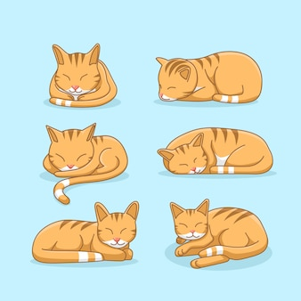 Sleepy ginger cat illustration set