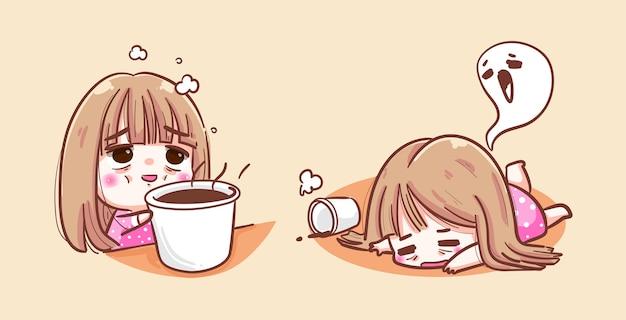 잠자는 소녀는 커피 컵과 하품 얼굴이 필요합니다.