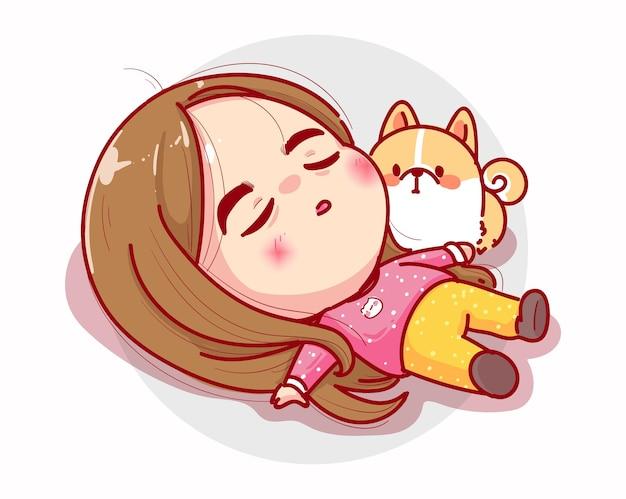 眠そうな女の子が休んで、キャラクターデザインをリラックス