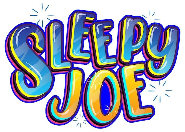 白い背景の上の眠そうなジョーの単語のロゴ