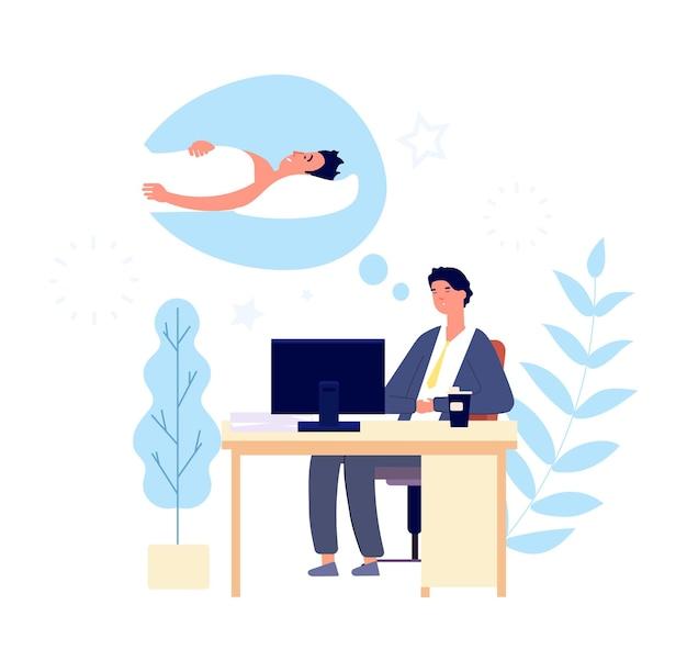 眠い男。朝のオフィスで寝たい男。疲れた大人の悲しい人は休息を望んでいます。仕事のキャラクターで漫画のベクトルマネージャー。仕事で眠いイラスト人、疲れた男