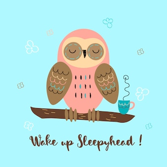 A sleepy owl in a cute style