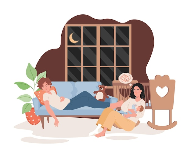 Sleepy parents spending time at night with child in living room flat illustration
