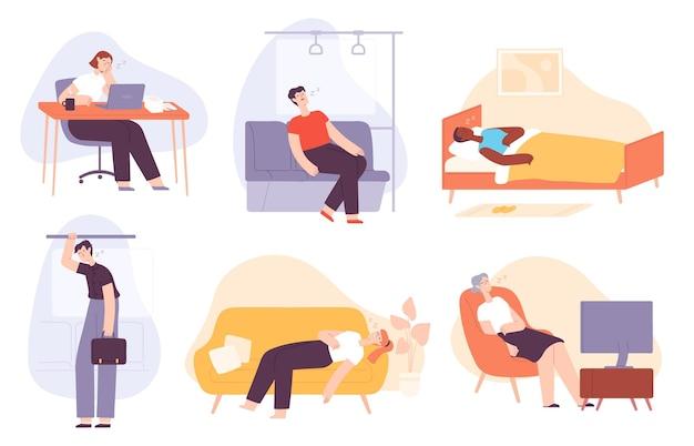 졸린 사람들. 피곤하고 게으르고 잠자는 남자와 여자는 집에서, 침대에서, 교통수단에서, 회사원입니다. 지루하고 번아웃 성인 평면 벡터 집합입니다. 일하러 가는 남녀 캐릭터, tv 시청