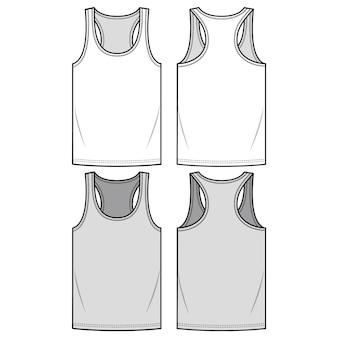 Sleeveless tee fashion flat sketch template