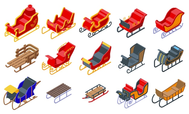 Sleigh icons set. isometric set of sleigh vector icons for web design isolated on white space