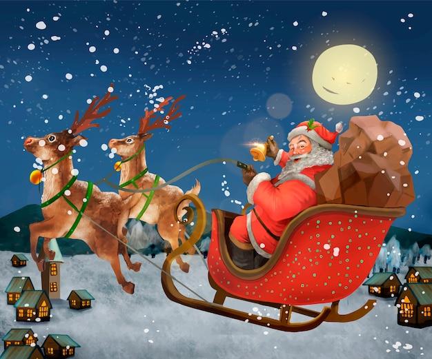 ハンドリングのサンタクロースは、プレゼントを提供するsleighに乗って