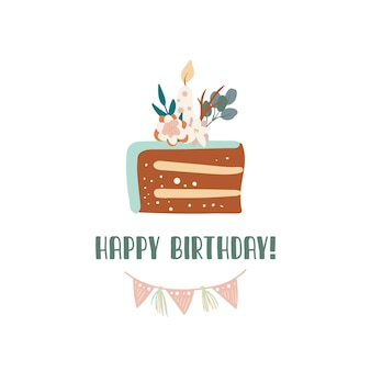 Slice of birthday cake with candle happy birthday greeting card design in boho style