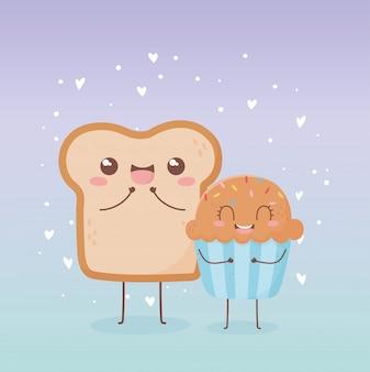 Slice bread and sweet cupcake kawaii food cartoon character design