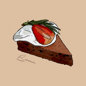 Slice of brownie cake