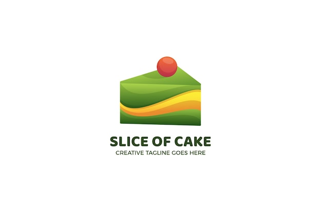 Slice of cake bakery logo template