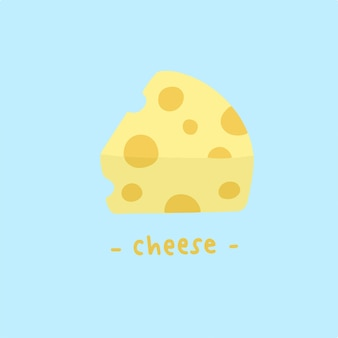 Slice of cheese symbol food vector illustration
