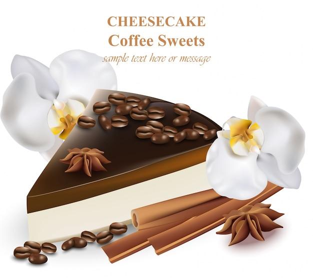 Slice of cheesecake coffee flavor