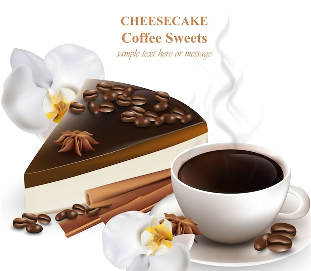 Slice of cheesecake and cup of choffee coffee