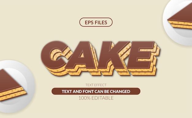 Slice of chocolate cake dessert editable text effect.