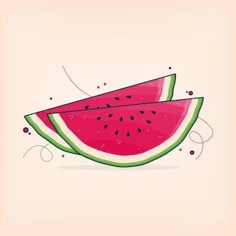 Slice fresh watermelon in summer time