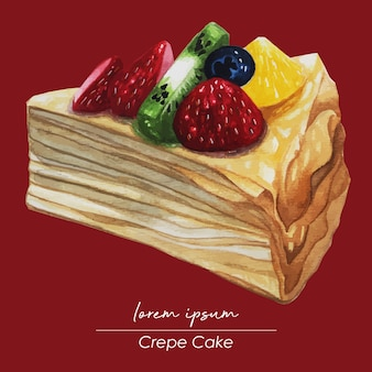 Slice of fruit crepe cake watercolor painting
