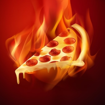 Slice of hot pepperoni pizza with cheese in burning fire