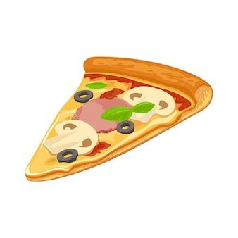 Capricciosaピザのスライス。ポスター、メニュー、ロゴタイプ、パンフレット、ウェブ、アイコンの分離ベクトルフラットイラスト。白色の背景。