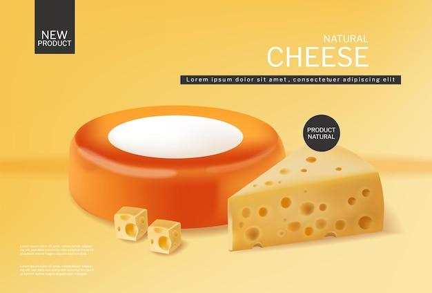 チェダーのスライスと丸いチーズホイールのベクトルの現実的な製品配置はフレッシュチーズをモックアップします