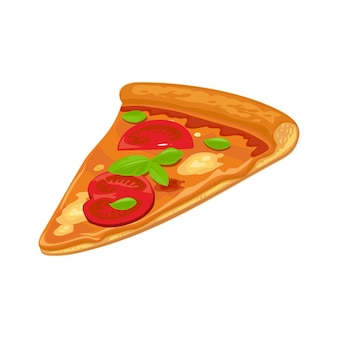 Кусочек пиццы маргарита хава. изолированная векторная иллюстрация квартиры для плаката, меню, логотипа, брошюры, сети и значка. белый фон.
