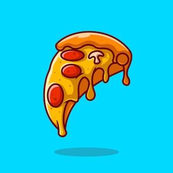 Кусок расплавленной пиццы мультфильм векторные иллюстрации значок. концепция объекта питания значок изолированы premium векторы. плоский мультяшном стиле