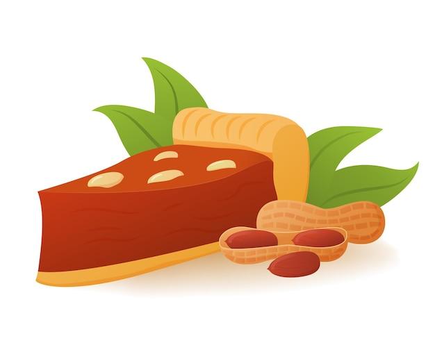 Кусочек арахисового пирога со взбитыми сливками. осенний овощной десерт концепция. кондитерские изделия, выпечка.