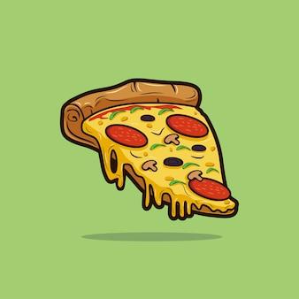 ピザのスライスのイラスト。