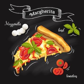 食材を使ったピザマルゲリータのスライス。黒板にトマト、モッツァレラチーズ、バジル、ピザ。メニューの画像。